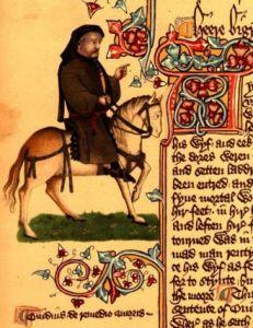 Chaucer as a Pilgrim from the Ellesmere manuscript