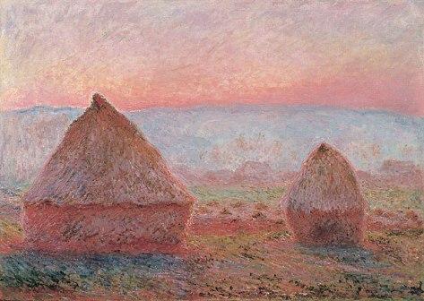 Monet - Haystacks at Giverny, the evening sun - 1888