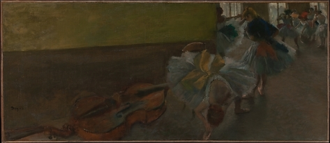 Edgar Degas - Dancers in the Rehearsal Room with a Double Bass, 1882-85