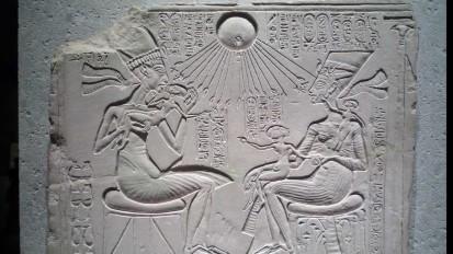 House Altar Depicting Akhenaten, Nefertiti and Their Three Daughtera