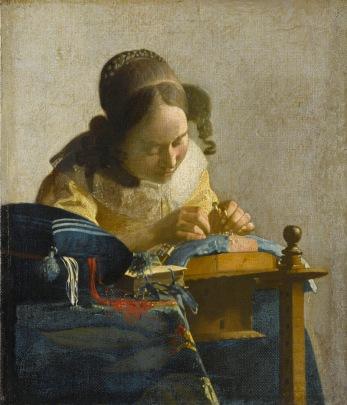 Johannes Vermeer. The Lacemaker. c.1669-1670. Oil on canvas, 23.9 x 20.5 cm.