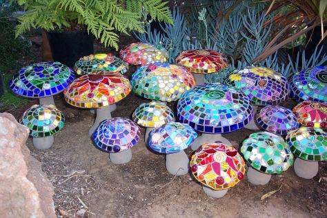 Garden Mushrooms Mosaics