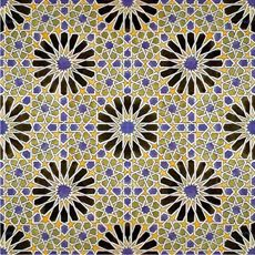 Islamic Tile Mosaic at Alhambra Palace - Granada, Spain - 1400s CE