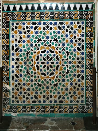 Islamic Tile mosaic at Alhambra Palace - Granada, Spain