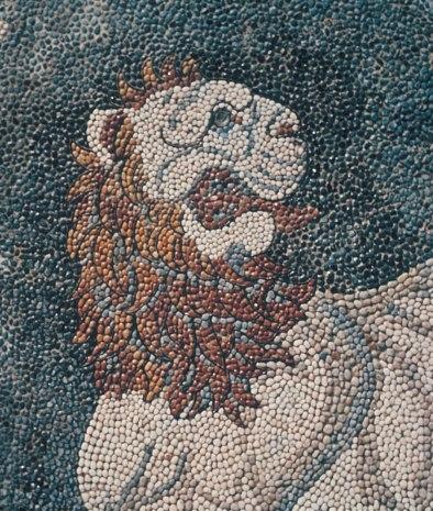 Lion Hunt Greek Pebble Mosaic, 300 BCE