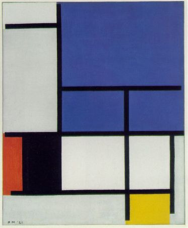 Mondrian - Composition with Large Blue Plane, Red, Black, Yellow and Gray, 1921,