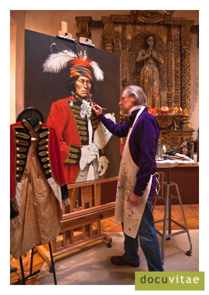 Paul Pletka painting in his home studio in Santa Fe, NM